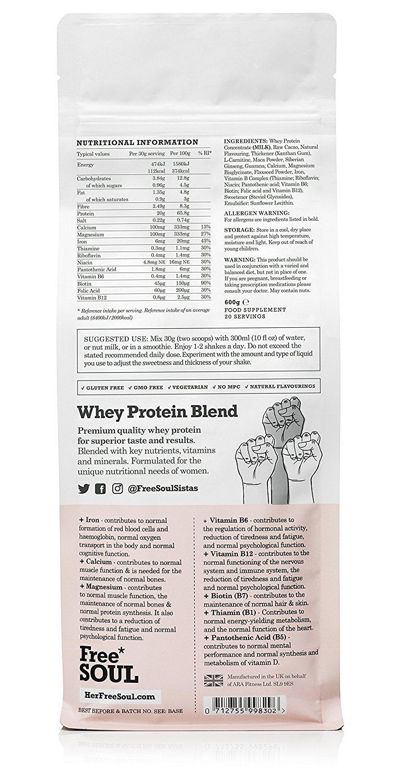 Free Soul Proteína Whey en Polvo Mujer/Whey Protein | 80% Con Ingredientes Naturales para la Nutrición, Equilibrio Hormonal, Mental y Energético | sin ...