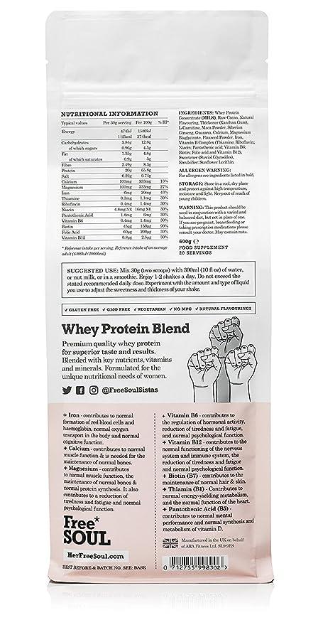 Free Soul Proteína Whey en Polvo Mujer/Whey Protein   80% Con Ingredientes Naturales para la Nutrición, Equilibrio Hormonal, Mental y Energético   sin ...