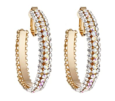 Clip On Hoop Earrings - Gold Plated Hoops - Delia by Bello London YZivJQ