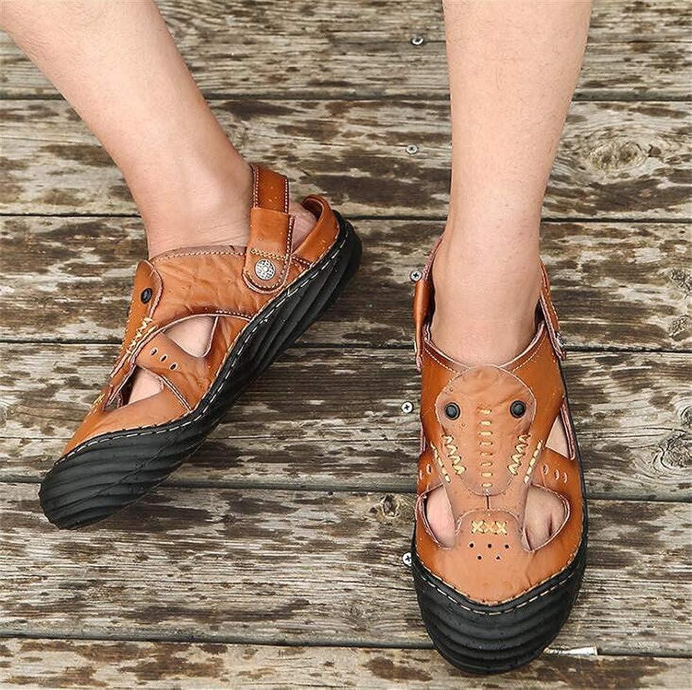 Bronze1,Lable 43//8.5 D M Mens Leather Sandals Comfortable Soles Breathable Button Closure US Men