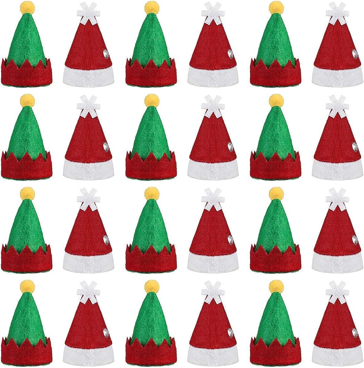 Amosfun 48pcs Mini DIY Christmas Hat Elf Christmas Cap Lollipop Top Wraps Toppers Wine Bottle Cap for Lollipop Candy Cover Decorations Craft