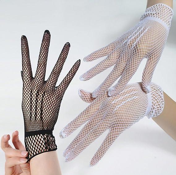 Westeng Gants Résille Blanc Femme Gants Court Résille pour Mariage Soirée   Amazon.fr  Vêtements et accessoires 535ec2b8c707