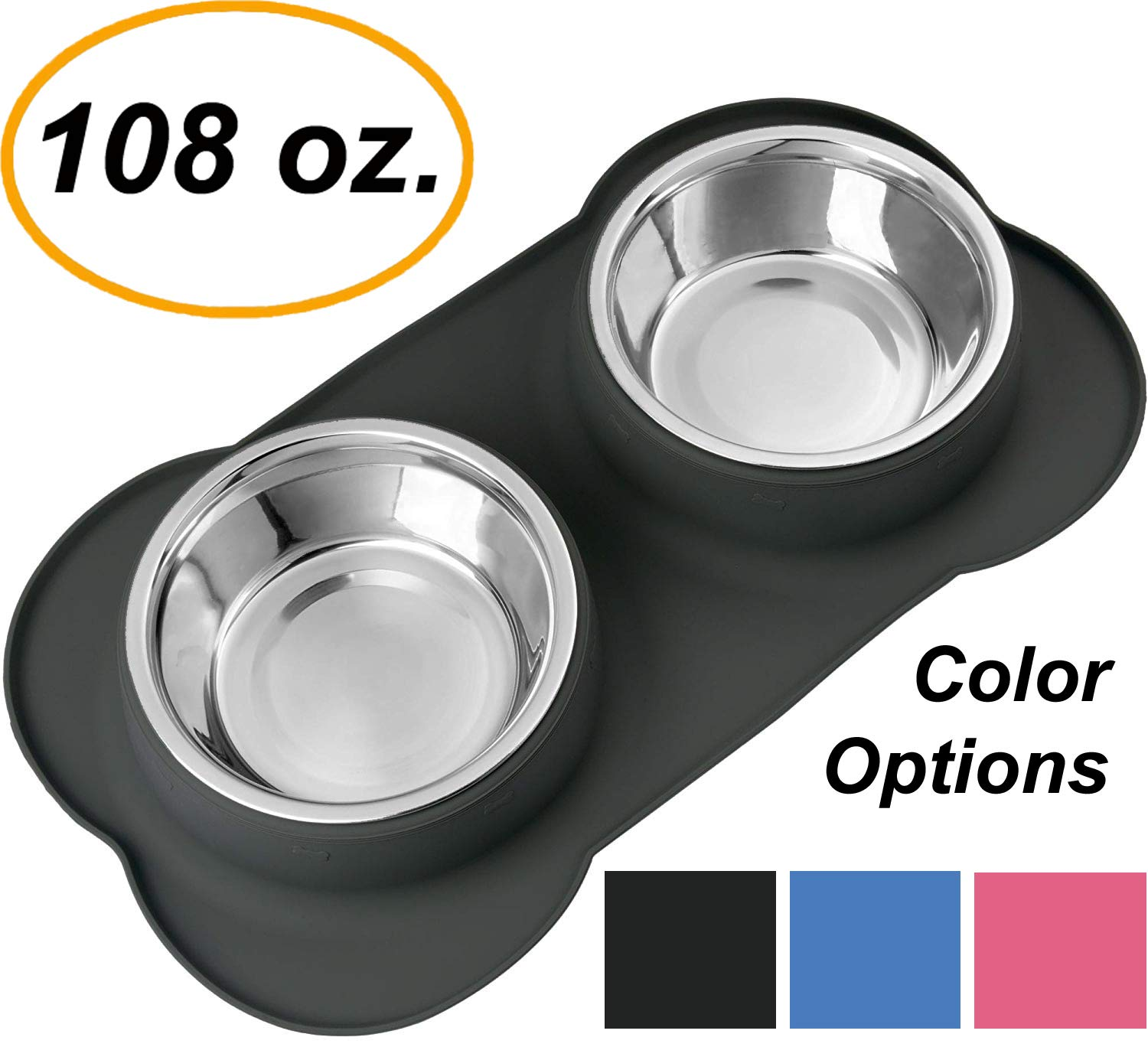 EZPETZ Large Dog Bowls - Two 54 oz. Stainless Steel Dog Bowls with No Spill Non-Skid Silicone Mat - Water Bowl and Food Bowl for Medium to Large Dogs by EZPETZ
