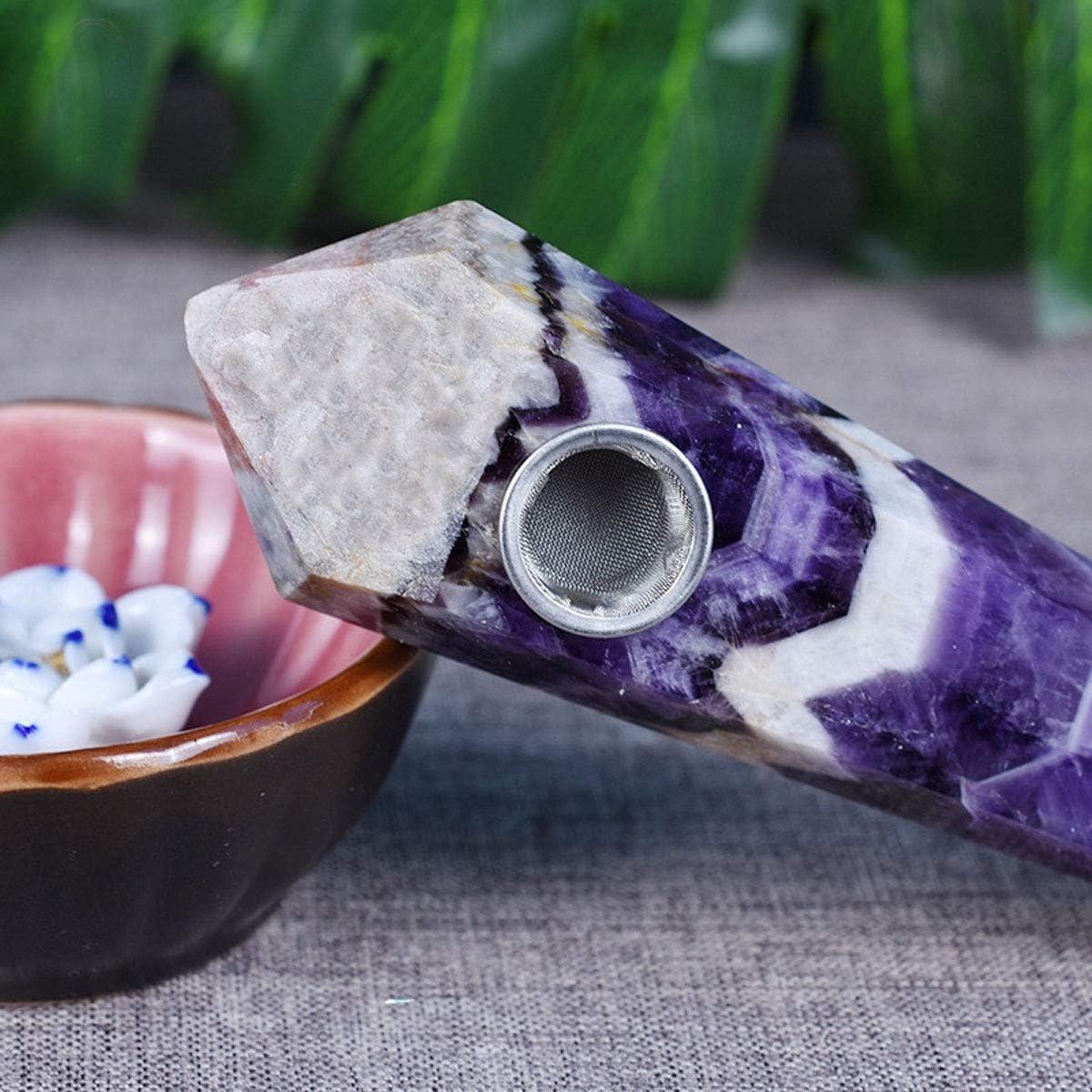 Natural Dreamy amethyst Pipe w//Carb Hole Quartz Crystal Wand+Gift box 1pc HA105
