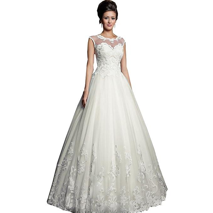 dressvip - Vestido de novia - trapecio - Manga Larga - Mujer Blanco blanco 2