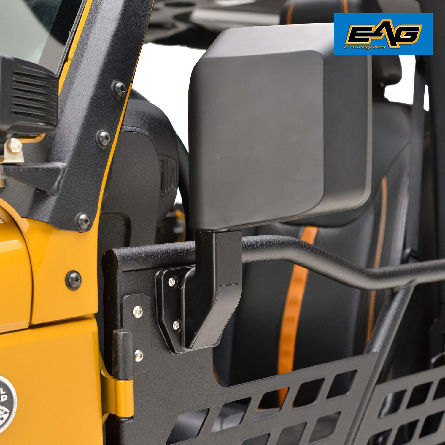 EAG Tubular Safari Doors Off Road 4x4 Black Textured Set with Side Mirrors for 07-18 Jeep Wrangler JK 4 Door Only