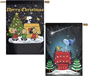 WOMFUI Snoopy Merry Christmas Garden Sign Double Sided Different Colorful Design Lawn Garden Decoration