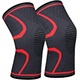 711TEK Compression Knee Sleeves - Best Knee Brace for Men & Women – Knee Support for Running and All Sports,Faster Injury Recovery (Red-Medium-2P)