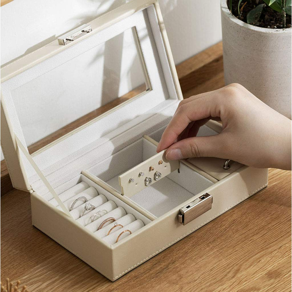 Boxes & Organisers AZBYC Leather Flannelette Jewelry Box Clasp Earring Ring Storage Box Jewelry Finishing Box