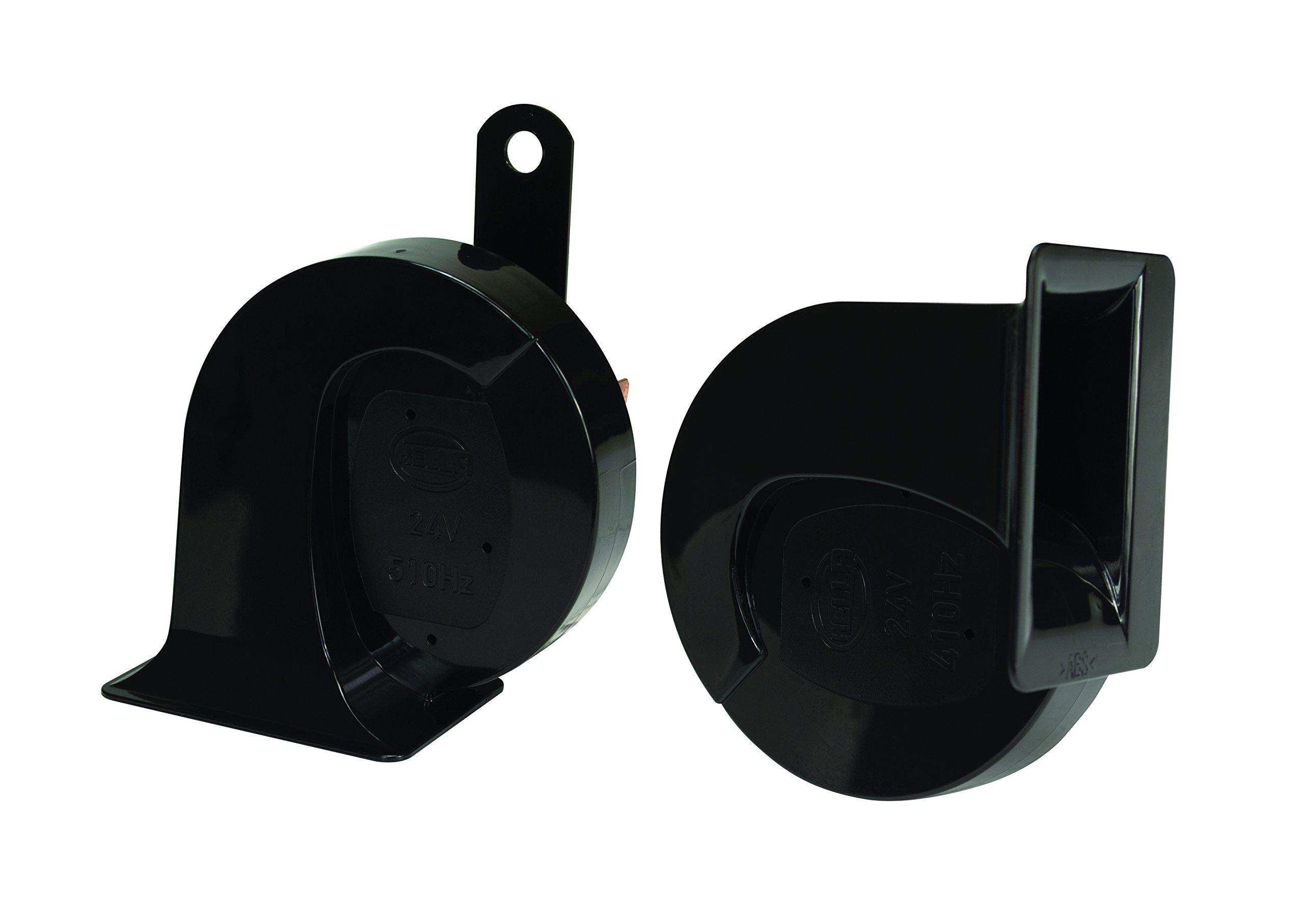 HELLA 940800821 Black 24V BX Trumpet Horn Kit (Universal Fit)