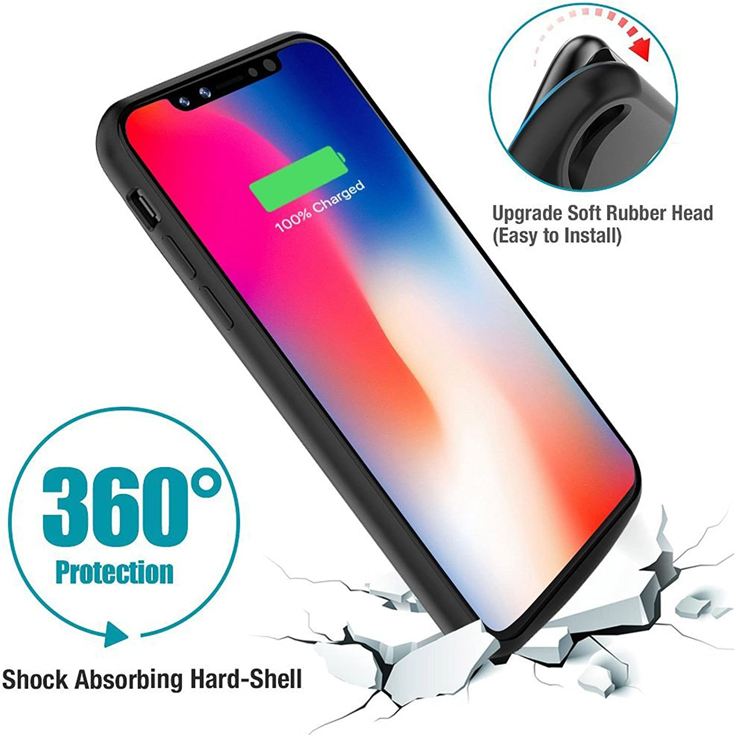 Apple Certified Chip Black iPhone X Battery Case Qi Wireless Charging Compatible MFI 6000 mAh Slim Rechargeable Extended Protective Portable Charger for iPhone X