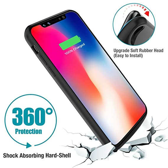 info for c4a18 48d8e iPhone X Battery Case Qi Wireless Charging Compatible MFI 6000 mAh Slim  Rechargeable Extended Protective Portable Charger for iPhone X [Apple ...
