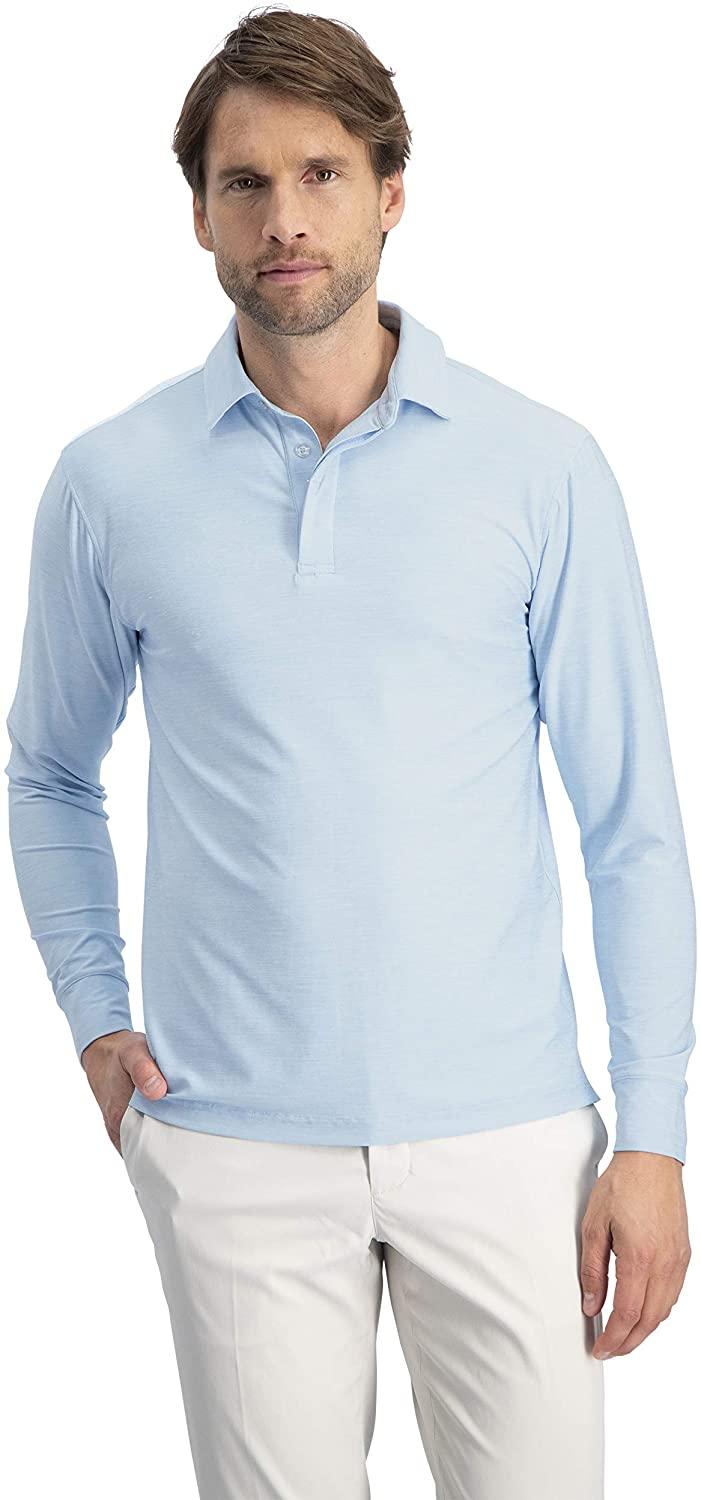 Men's Dry Fit Long Sleeve Golf Shirt - Quick Dry Polo Shirts - UPF 30, Stretch Fabric