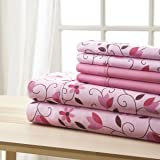 Spirit Linen, Inc Hotel 5th Ave Full Pink Brown Leaves 6 Piece Bellagio Home Collection Sheet Set