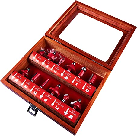 """12PC 1//2/"""" Professional Shank TCT Tipped Router Bit Set With Wooden Case"""