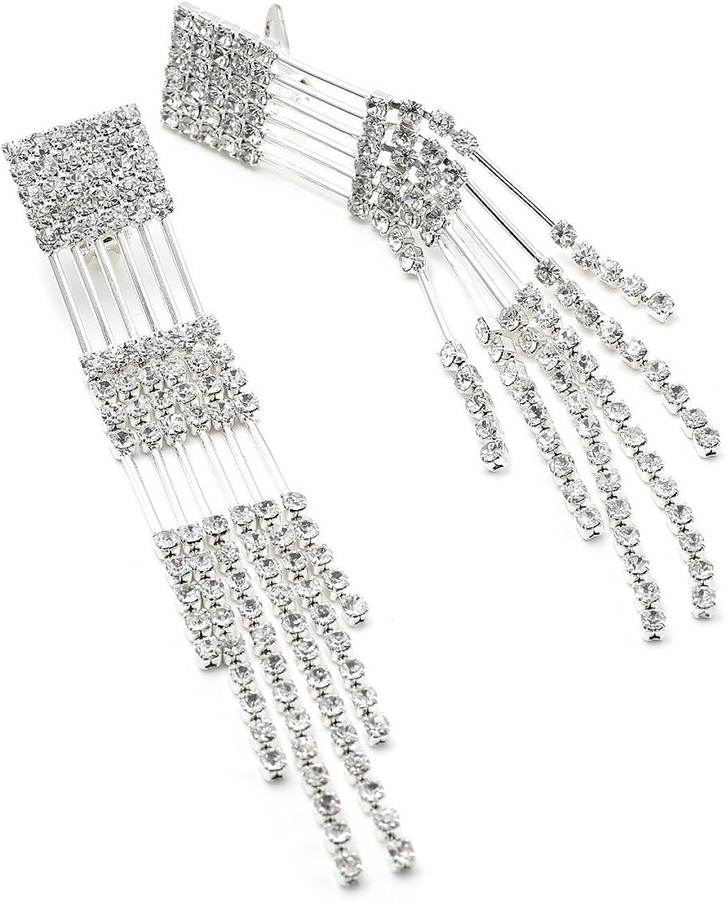 DiamondJewelryNY Silver Pendant Ss Long Lngth Cz Blk Rhod//Wht Neck 36