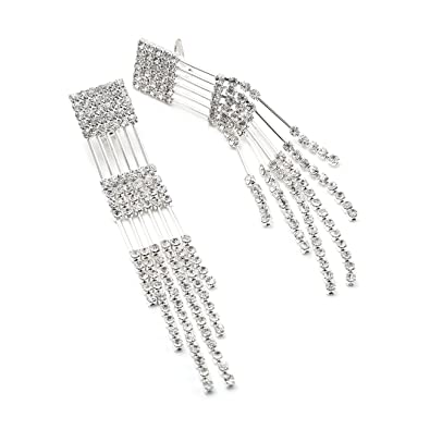 Amazon silver crystal rhinestone multiple string line strand amazon silver crystal rhinestone multiple string line strand chandelier dangle clip earrings clip on earrings jewelry aloadofball Images