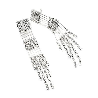 1a3739b9c2a9 Amazon.com  Silver Crystal Rhinestone Multiple String Line Strand Chandelier  Dangle Clip Earrings  Clip On Earrings  Jewelry