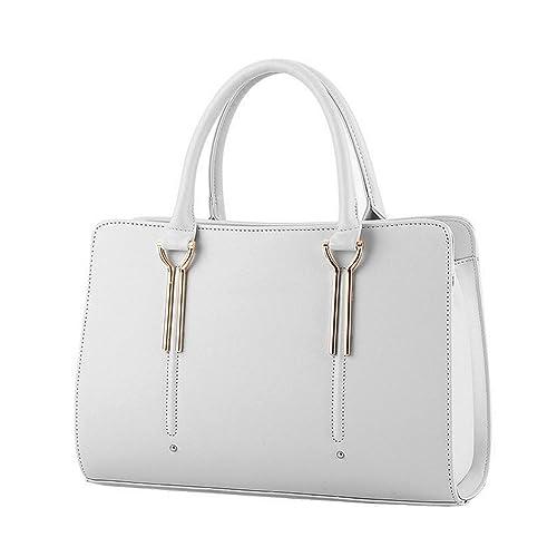 Micom 2016 Summer Womens Pure Color Pu Leather Boutique Tote Bags Top  Handle Handbag (Beige 72c1199e2454b