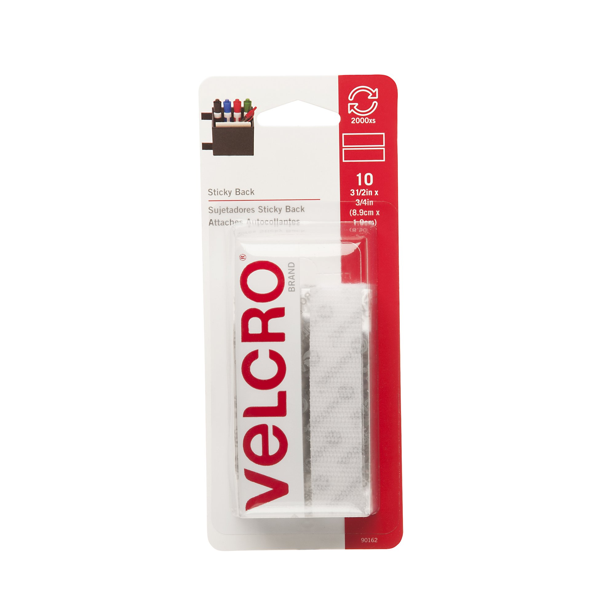 VELCRO Brand - Sticky Back Hook and Loop Fasteners | Perfect for Home or Office | 3 1/2in x 3/4in Strips | Pack of 10 | White