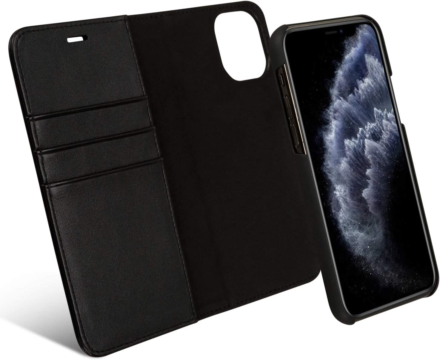 Magnetic Clasp Closure iPhone 11 Folio Flip Case Cover with Gift Box Package Card Holder iPhone 11 6.1/'/' Detachable Wallet Case for iPhone 11 Black AMOVO Case for iPhone 11 6.1 Stand Feature Hand Strap Vegan Leather 2 in 1