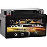 Weize YTX7A-BS High Performance - Maintenance Free - Sealed AGM Motorcycle Battery compatible with Gas Gy6 Scooter Moped 50CC