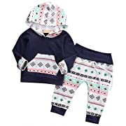 Baby Girl Hoodie Outfit Long Sleeve, Toddle Infant Warm Hoodie T-shirt Pants Outfit Set- Kids Clothes for Coming Fall Winter Tops Sweatsuit Pants 3 Months