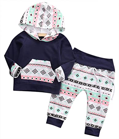 810e58f9d Baby Boy Girl Long Sleeve Hoodie Sweatsuit Tops Striped Pants ...