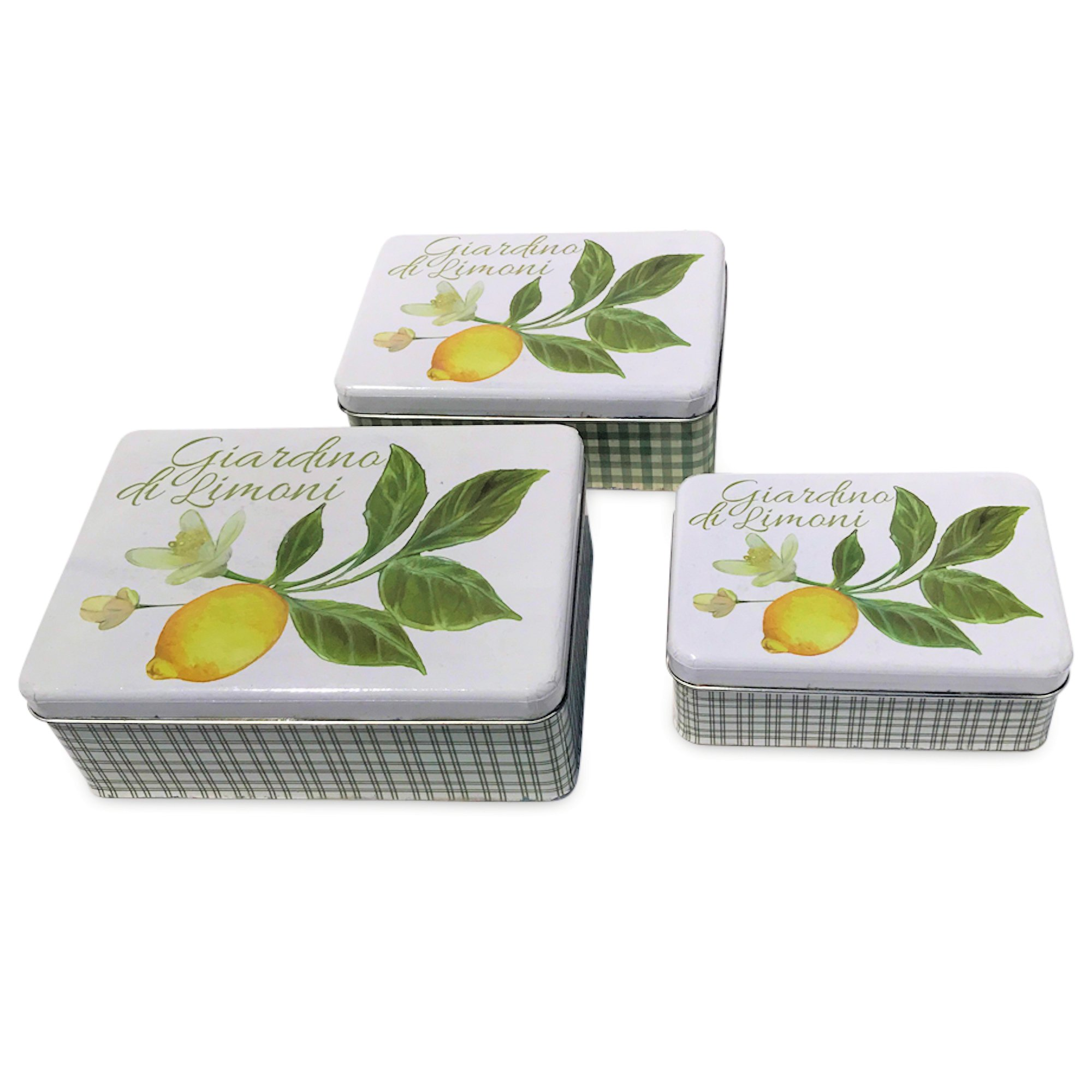 Whole House Worlds The Italian Garden Lemon with Blossoms and Leaves Cookie Tins, Set of 3 Boxes with Lids,Tin Plate, Rustic Vintage Style, Various Sizes, By