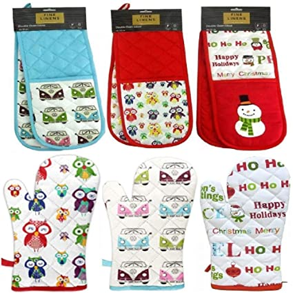 Jungle Forest Owl Bird Red Double Kitchen Bbq Oven Cooking Baking Gloves Mitts Thick Padded Cotton Mittens by Fine Linens
