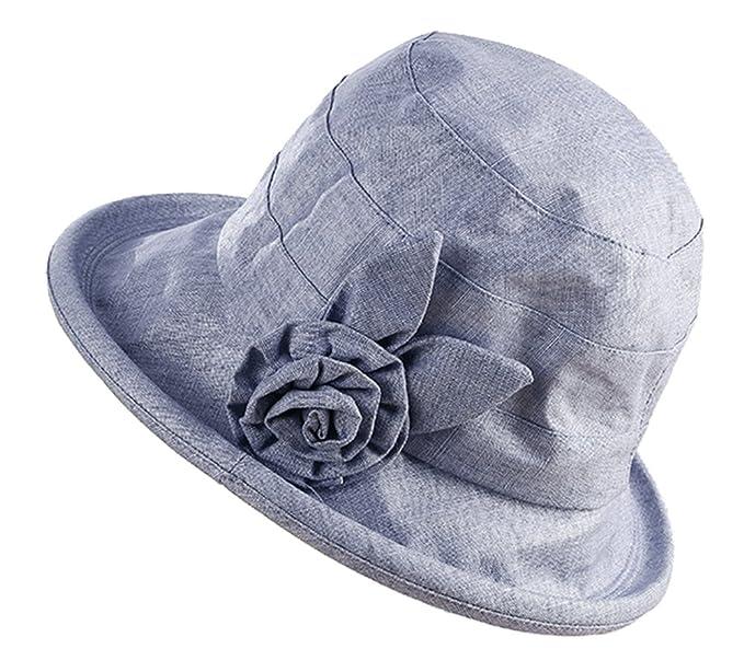 b87722bc6fb Elezay Women s Cloche Round Hat Packable Vintage Bucket Hat Flower Roll up  UPF 50+ Blue