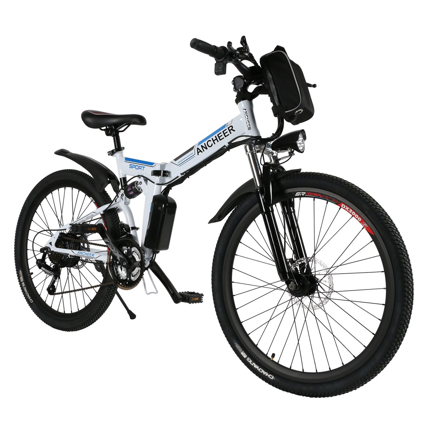 ANCHEER Power Plus Electric Mountain Bike, 26'' Electric Bike with 36V 8Ah Lithium-Ion Battery, Shimano 21 Speed Shifter (Folding-White)