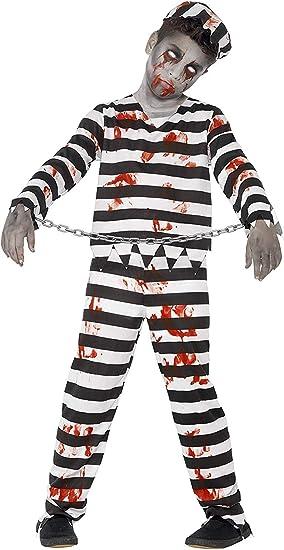 Smiffys 44326T - Disfraz de zombi convicto, color negro y blanco ...