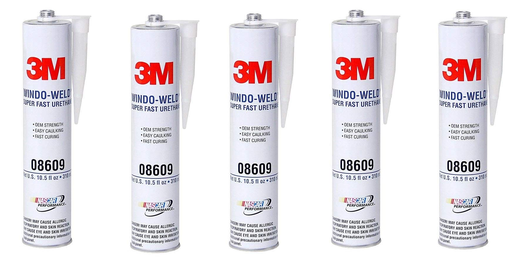 3M 08609 Window-Weld Super Fast Urethane Black Cartridge - 10.5 fl oz, 5 Pack
