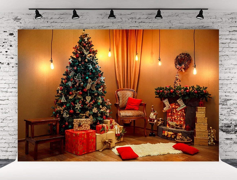 KSZUT 5x7ft Christmas Tree Gifts Window Wooden Floor Scenery Photography Backdrop Customized Photo Background for Photo Studio DZ-2247