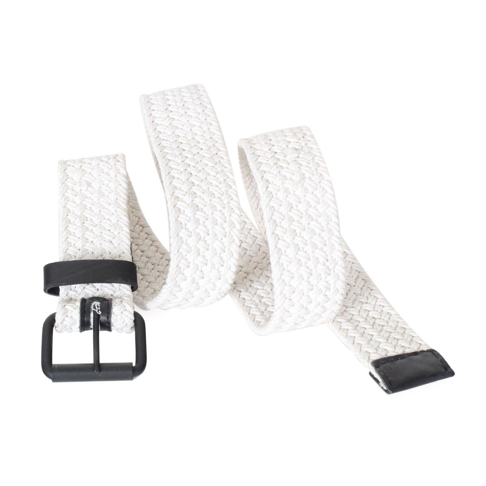 AK744 - Men's Casual Nautical Woven Braided Cotton Roller Buckle Belt (L (fits 35'' waist), White)