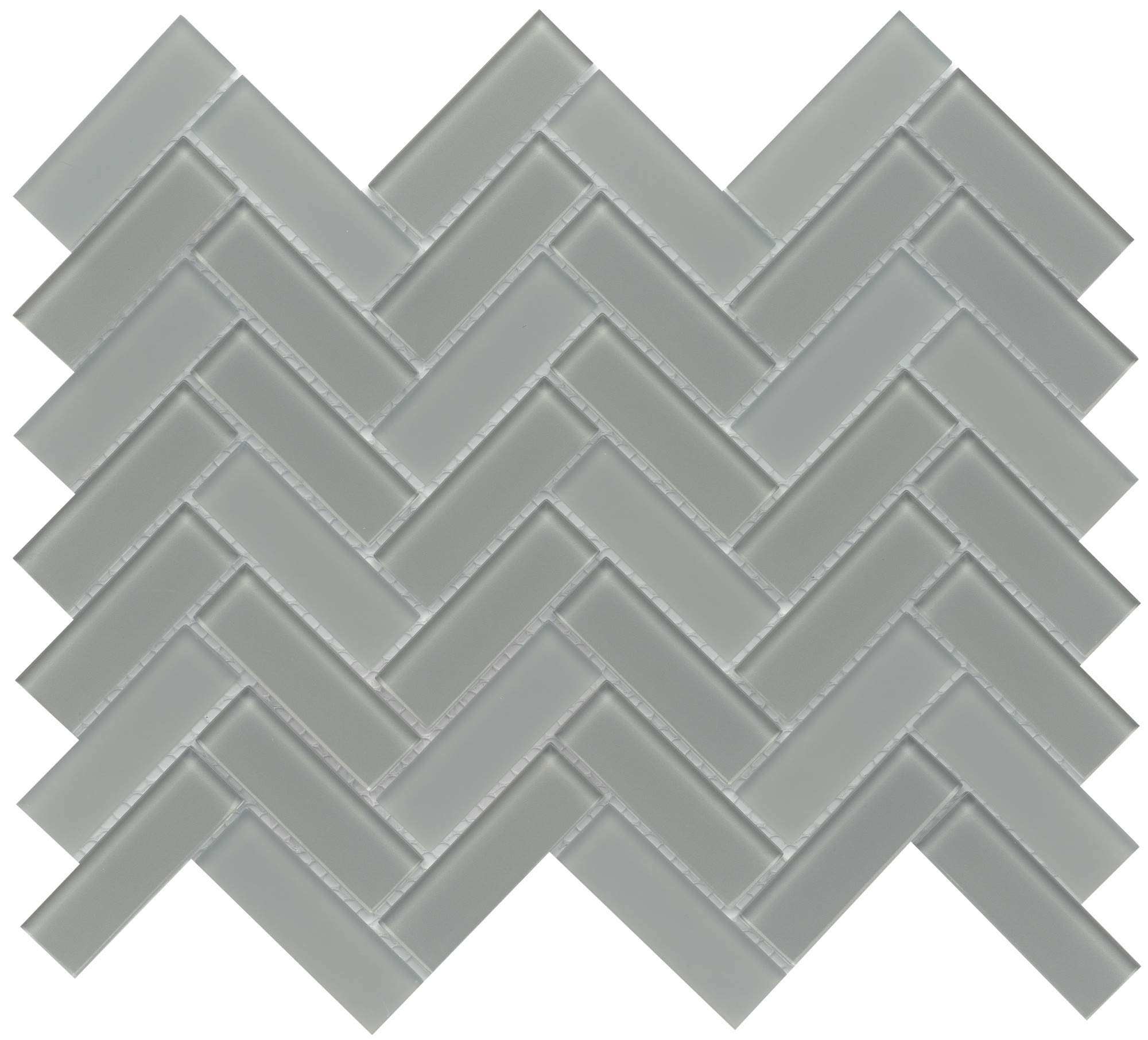 Emser Tile W80CHARGR1013MHB Charisma - 9-11/16'' x 13-1/16'' Herringbone Backsplash Mosaic Tile - Varied Glass Visual
