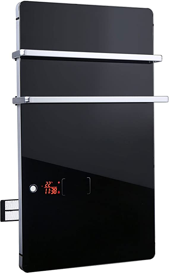 PURLINE ZAFIR V2000T B Handtuchhalter Digitaler Elektrische Heizung aus schwarzem Hartglas mit Thermostat