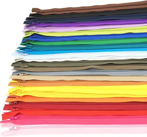 60pcs 9 inch Zippers-25Colors Nylon Coil Zipper Bulk #3 Zippers for Tailor Sewing Crafts