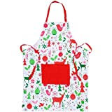 Chistmas Holiday Kitchen Apron with Pockets and Extra Long Ties, Women & Men Chef's Apron for Cooking, Baking, Crafting, BBQ, 100% Cotton-(Red & White)
