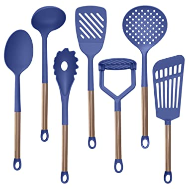 COOK With COLOR 7 Piece Nylon Cooking Utensil Set with Copper Handles - Navy