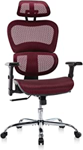 Home Office Chair Mesh Ergonomic Computer Chair with 3D Adjustable Armrests Desk Chair High Back Technical Task Chair - Burgundy