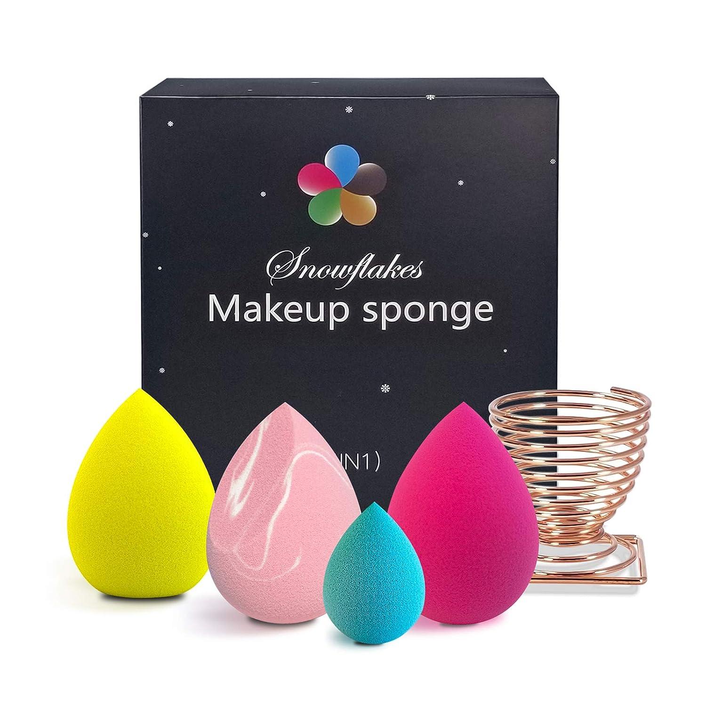 Snowflake Big Beauty Makeup Sponge Blender set with Holder-Latex Free, Tear Drop Shape Sponge Flawless Coverage of Powder, Cream, Liquid(Multi-Color)