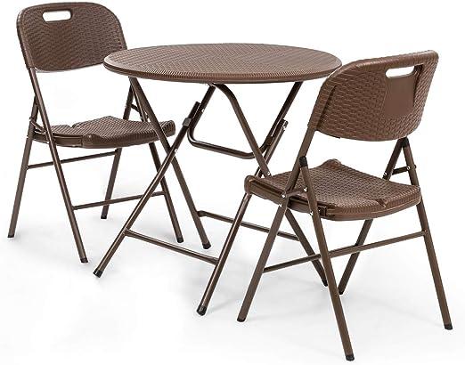 blumfeldt Burgos Mesa y sillas - Lote de Mesa de jardín y 2 sillas de jardín, Mesa