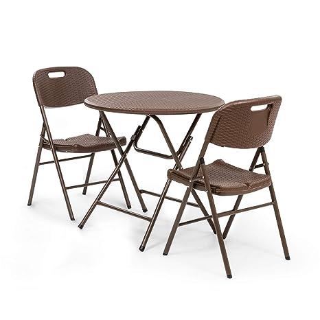 Blumfeldt Burgos Mesa y sillas - Lote de Mesa de jardín y 2 ...