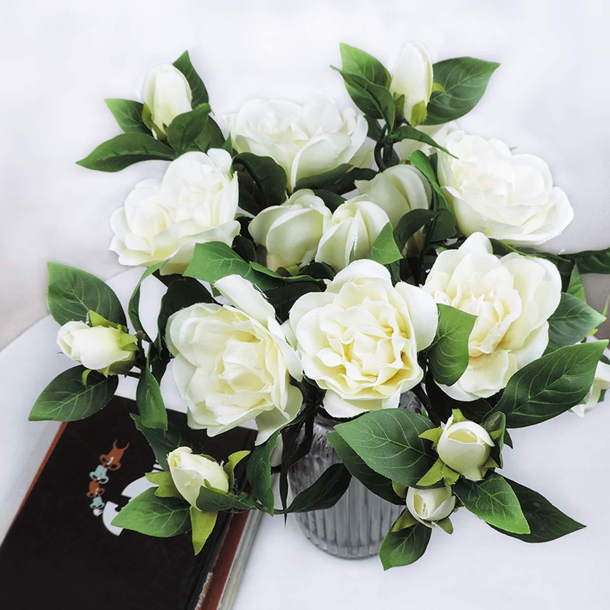 Yinhua 3 Packs Artificial Gardenia Flower Artificial Flower Blooming  Artificial Flower Bouquet for Home Wedding Arrangement Decoration (White,  Pack