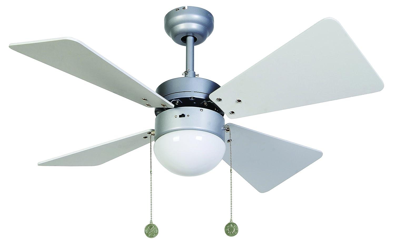 LUCCI AIR Deckenventilator Breezer, Durchmesser 81 cm, Flügel weiß, wenge, mit Zugketten und Licht 512112