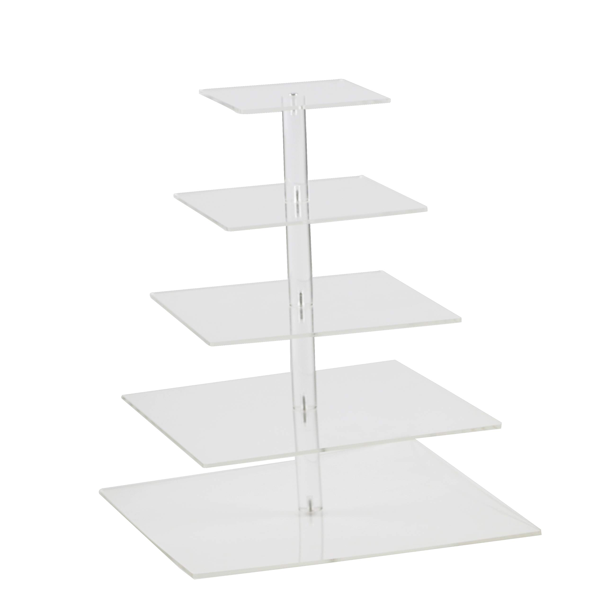5 Tier Clear Square Acrylic Cupcake stand Wedding Cake Stand - Dessert Display Stand (5 tier square (4.7'' Layer spacing))