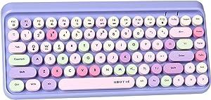 UBOTIE Portable Bluetooth Colorful Computer Keyboards, Wireless Mini Compact Retro Typewriter Flexible 84Keys Design Keyboard (Purple-Colorful)