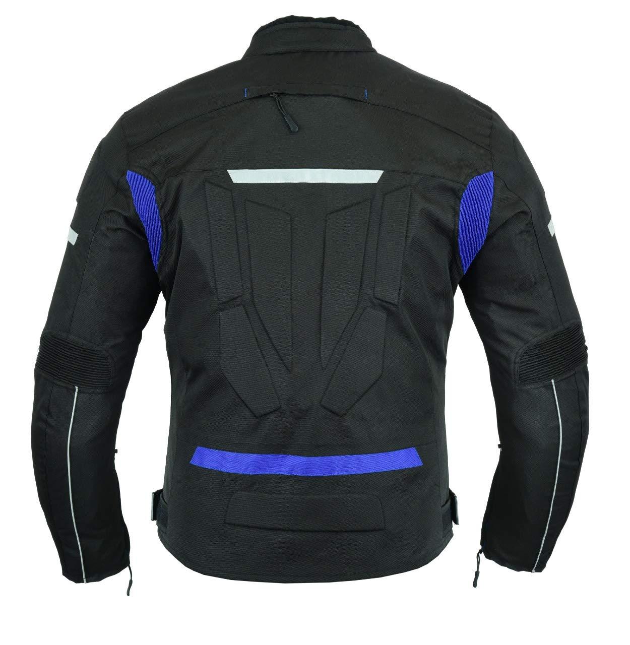 Motocicletta blindata alta protezione ecopelle pieno fiore colore Nero//Blu//Bianco Armour tk-1725bl